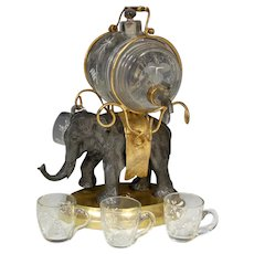 Antique French Napoleon III Liqueur Stand, Caddy or Tantalus, Barrel & Cups: Elephant Figural Stand