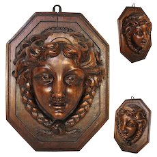 """Fabulous Antique French Carved 9.5"""" Figural Wall Hanging, Plaque, Match, Toothpick or Spill Holder"""
