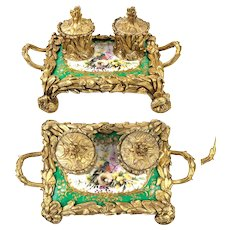 Superb French Antique Hand Painted Porcelain Double Inkwell, Old Paris, Dore Bronze