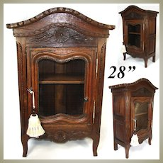 "Antique French Country Cabinet, 28"" Tall Armoire or Vitrine, Hand Carved"
