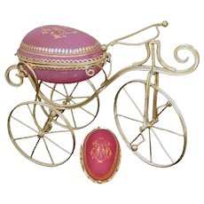 "Rare Antique French Pink Opaline Glass & Gilt Ormolu 8.5"" 'Egg' Casket, Unique 3-Wheel Bicycle Form"