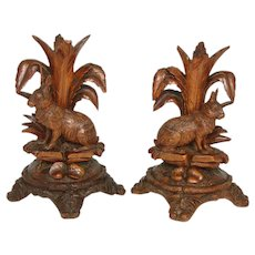 "8.75"" Tall Antique Black Forest Carved Candle or Epergne Stands, Rare HARE or Rabbit Figures"