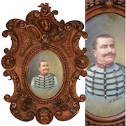"""Hand Carved Antique Black Forest Frame, 22"""",  with Military Portrait in Oil, Signed B. RUFFINI, 1906"""
