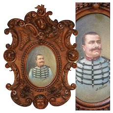 "Hand Carved Antique Black Forest Frame, 22"",  with Military Portrait in Oil, Signed B. RUFFINI, 1906, General Heinrich von Pitreich, Austria-Hungary"