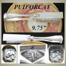 "Antique French PUIFORCAT Sterling Silver 9.75"" Pastry or Asparagus Tongs, ""Filet"" Pattern"