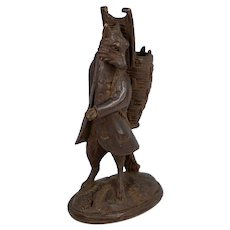 Antique Hand Carved Black Forest Match or Toothpick, Cheroot Holder, Stand, A Fox