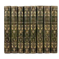 "French Books, 8 Volumes, c 1830, Greece ""Voyage du Jeune Anacharsis, En Grèce"", 1-8"
