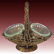 Antique French Napoleon III Jewelry Casket, Box, Basket, Beveled Glass Vitrine