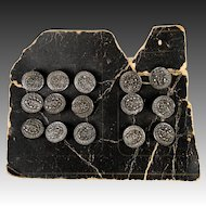 Antique Victorian Era French Cut Steel Buttons, Set of 15 on Original Card, Never Used