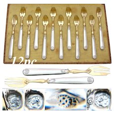 Antique French Hallmarked Sterling Silver & Gilt 12pc Cake or Oyster Fork Set, Seashell Pattern, Box