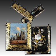 Antique Victorian English Papier Mache Calling Card Case, Eglomise Painting on Glass Inset, MOP