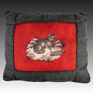 Antique Victorian Beadwork Kitten, Cat, Made up into Throw Pillow, Wool Needlepoint