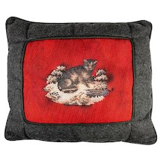 Antique Victorian Beadwork Kitten, Cat, Made up into Throw Pillow, Wool Needlepoint