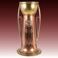 """Antique Vienna Copper Brass Hand Made Vienna Secessionist or Art Nouveau 10"""" Vase"""