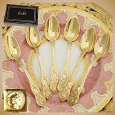 "Antique French 18k Gold on Silver Vermeil 6pc Coffee or Teaspoon Set, ""Cafe"" Inlay Box, ""Dean"" Inscription"