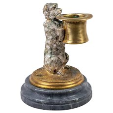 Antique French Cast Bronze Dog with Tophat, A Match or Toothpick Caddy Holder, Stand