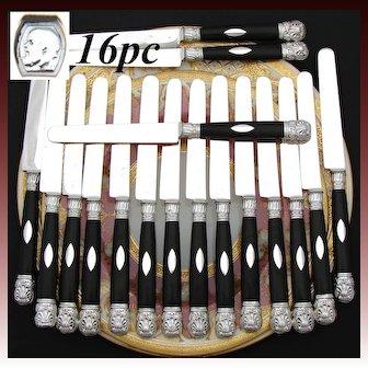 Elegant Antique French Sterling Silver & Ebony 16pc Dessert or Entremet Knife Set, 1819-1838 Hallmarks