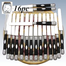 Elegant Antique French Sterling Silver & Ebony 16pc Dessert or Entremet Knife Set, 1819-1838 Hallmarks