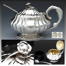 Antique English Georgian era Sterling Silver Mustard or Condiment Pot c.1837, Cobalt Glass Liner