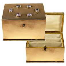 Charming Antique French Stationery or Jewelry Box, Casket, Amathyst Cabochons, Heavy Brass