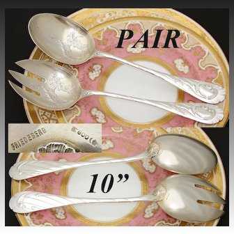 """Antique Continental .800 (nearly sterling) Silver 10"""" Salad or Dessert Serving Pair, Louis XVI or Rococo Pattern"""