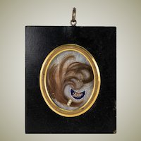 Antique French Hair Art Memento, Mourning Memorial, Pearls, 18k Gold, in Napoleon III Frame