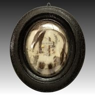 """Antique French 8.5"""" Hair Art Memento, Mourning Memorial Tomb, Cross, 26-Yr Old, c1885"""