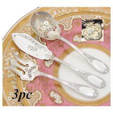 Antique French Sterling Silver 3pc Hors d'Oeuvre Implement Set, Laurel & Foliate Pattern