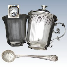 """Lovely Antique French Sterling Silver 3"""" Mustard or Condiment Pot, Louis XVI or Rococo Style"""
