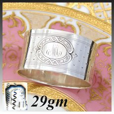 Antique French Sterling Silver Napkin Ring, Guilloche Style Decoration,