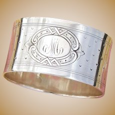 "Antique French Sterling Silver Napkin Ring, Guilloche Style Decoration, ""MM"" Monogram"