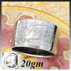 """Antique French Sterling Silver Napkin Ring, """"LF"""" Monogram, Floral, Scrolling Guilloche Style Decoration"""
