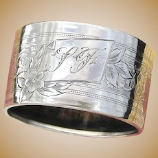 "Antique French Sterling Silver Napkin Ring, ""LF"" Monogram, Floral, Scrolling Guilloche Style Decoration"
