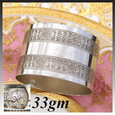 Antique French .800 (nearly sterling) Silver Napkin Ring, Frieze Style Floral Garland Guilloche Style Decoration