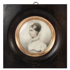 Antique Hand Drawn French Empire Portrait Miniature, Pencil Sketch, in Original Frame, c.1830s