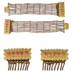 Pair (2) Antique French Hair Art Cuff Bracelets, Converts to Choker, Red Coral