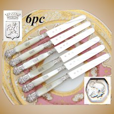 Elegant Antique French .800 (nearly sterling) Silver & Mother of Pearl Dessert or Entremet Knife Set, Crown Heraldry