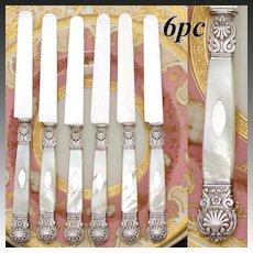 """Antique French 1819-1838 Silver & Mother of Pearl 6pc 8"""" Dessert or Entremet Knife Set, Seashells"""