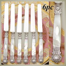 "Antique French 1819-1838 Silver & Mother of Pearl 6pc 8"" Dessert or Entremet Knife Set, Seashells"