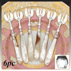 Lovely Antique French .800 (nearly sterling) Silver 6pc Shellfish or Oyster Fork Set, Solid Mother of Pearl Handles