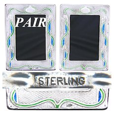 "Rare Antique Art Nouveau Matched PAIR of Sterling Silver & Enamel 7.5"" Picture Frames"