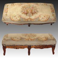"""Antique Victorian Era Louis XV 29"""" Floral Needlepoint & Carved Walnut Double Footstool, Foot Stool"""