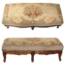 "Antique Victorian Era Louis XV 29"" Floral Needlepoint & Carved Walnut Double Footstool, Foot Stool"