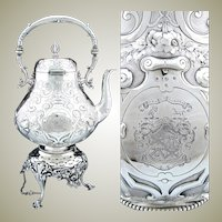 """Gorgeous Antique Victorian Era Silver-plate 17.5"""" 120oz """"Tipper"""" Coffee Kettle, Armorial Style Heraldry, Complete"""