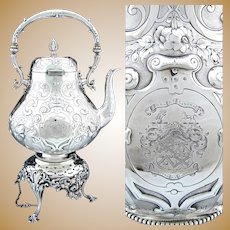 "Gorgeous Antique Victorian Era Silver-plate 17.5"" 120oz ""Tipper"" Coffee Kettle, Armorial Style Heraldry, Complete"