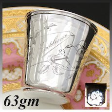 """Antique French Sterling Silver Wine or Mint Julep Cup, Tumbler """"Timbale"""" Floral Decoration & """"Madeleine"""" Inscription"""