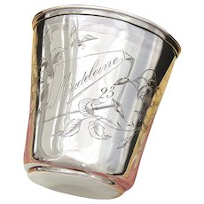 "Antique French Sterling Silver Wine or Mint Julep Cup, Tumbler ""Timbale"" Floral Decoration & ""Madeleine"" Inscription"