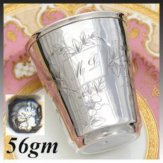 """Antique French Sterling Silver Wine or Mint Julep Cup, Tumbler """"Timbale"""" Floral Decoration & """"ML"""" Monogram"""