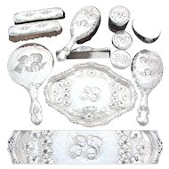 """RARE 11pc Set of Antique Sterling Silver Vanity Items with Tray, """"Reynolds Angels"""" Pattern Winged Cherubs"""
