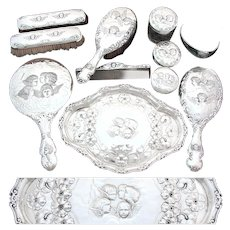 "RARE 11pc Set of Antique Sterling Silver Vanity Items with Tray, ""Reynolds Angels"" Pattern Winged Cherubs"